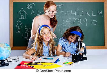 école, femme, étudiants, prof, gosses, nerd