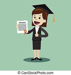 école, femme, degré, business, diplôme, collège, certificat, complet, prise, ou, university.