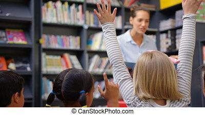 école, femme, schoolkids, caucasien, 4k, prof, bibliothèque, enseignement