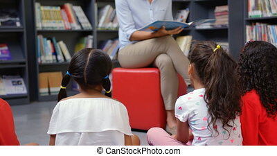 école, femme, schoolkids, enseignement, 4k, prof, bibliothèque