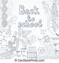 école, feuille, carré, dos, papier, doodles
