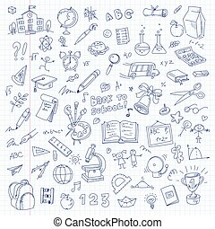 école, feuille, livre, freehand, dessin, exercice