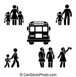 école, figure, aller, parents, crosse, enfants, avant