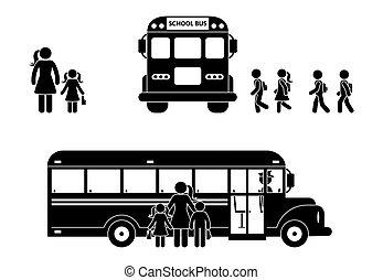 école, figure, autobus, filles, marche, garçons, crosse