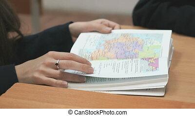 école, flips, manuel, intérieur, écolière, pages