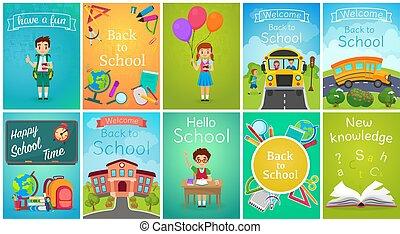 école, gabarit, ensemble, tableaux, livre, dos, équipement, vecteur, autobus, bannières, education, gosses, carte, illustration.