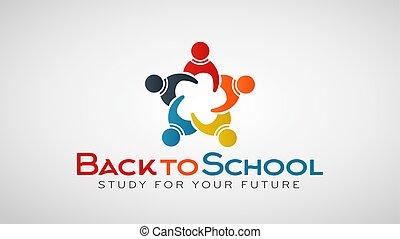 école, gens, group., dos, vecteur, logo