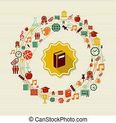 école, global, dos, icons., étiquette, livre