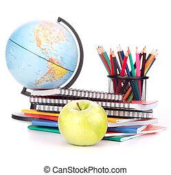 école, globe, concept., dos, accessories., cahier, pencils., écolier, étudiant, études, pile