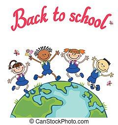 école, globe, illustration, day., vecteur, pupille, tenue, la terre, kids., enfants, hands., sauter