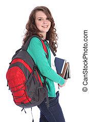 école, grand, adolescent, élevé, étudiant, sourire, girl, heureux