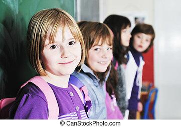 école, groupe, enfants, heureux