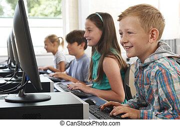 école, groupe, enfants, informatique, élémentaire, classe