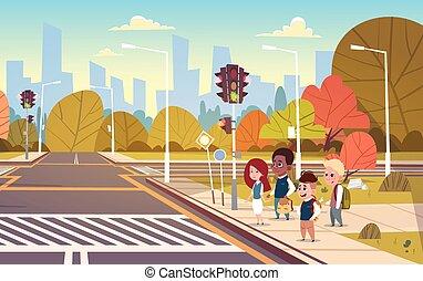 école, groupe, lumière, croix, attente, vert, trafic, passage clouté, enfants, route