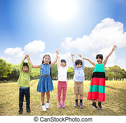 école, groupe, parc, multi-ethnique, enfants, heureux