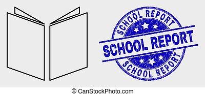 école, grunge, coup, vecteur, cachet, rapport, livre ouvert, icône