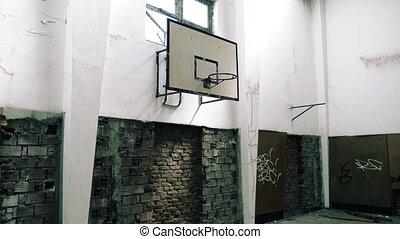 école, gymnase, abandonnés, 60fps, salle