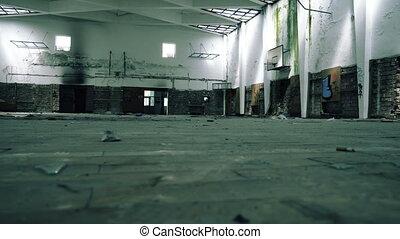 école, gymnase, abandonnés, salle