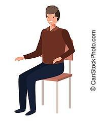 école, homme, chaise, séance