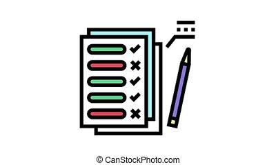 école, icône, animation, examen, couleur