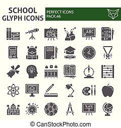 école, icône, paquet, ensemble, étude, collection, isolé, croquis, symboles, solide, vecteur, arrière-plan., pictograms, signes, logo, blanc, education, illustrations, glyph