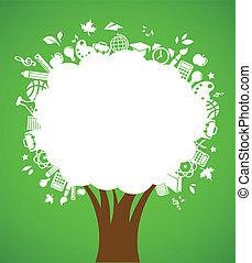 école, icônes, arbre, -, dos, education