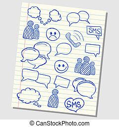 école, icônes, communication, illustration, papier, parole, revêtu