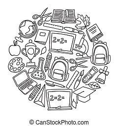 école, icônes, main, panneau craie, fond, dessiné
