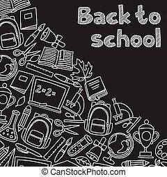 école, icônes, main postérieure, panneau craie, fond, dessiné