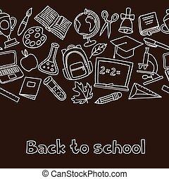 école, icônes, modèle, seamless, main, panneau craie, dessiné