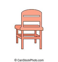 école, illustrateur, isolé, vecteur, chaise, icône