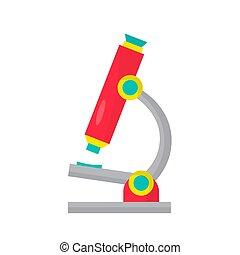 école, illustration, arrière-plan., microscope, vecteur, blanc