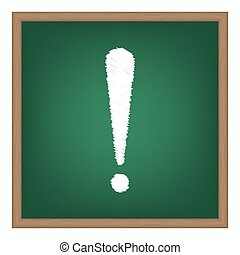 école, illustration., attention, effet, signe, craie, vert, board., blanc