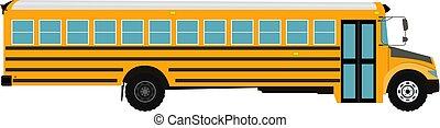 école, illustration., autobus, isolé, arrière-plan., vecteur, blanc