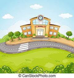école, illustration, bâtiment.