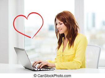 école, informatique, ordinateur portable, étudiant, sourire
