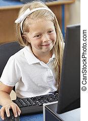 école, informatique, pupille, femme, élémentaire, classe