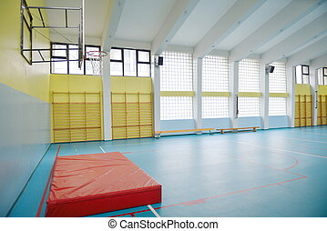 école, intérieur, gymnase