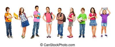 école, intelligent, blanc, combinaison, gosses