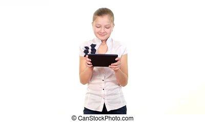 école, intelligent, tablette, jouer, informatique, fond, utilisation, blanc, girl, intelligent