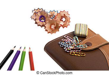 école, isolé, cahier, fond, fournitures, blanc