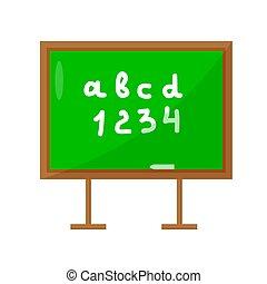 école, isolé, illustration, arrière-plan., vecteur, planche, chalkboard., blanc