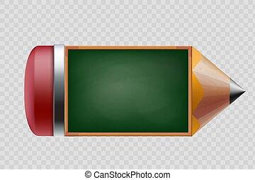 école, isolé, tableau vert, fond, pencil., transparent