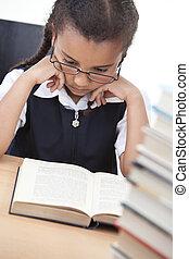 école, jeune, livre, jolie fille, lecture