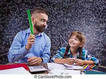 école, jeune, prof