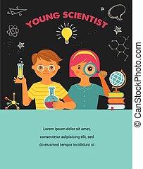 école, -, jeune, recherche, education, scientifique