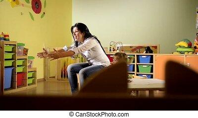 école, jouer, prof, enfant