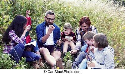 école, learning., groupe, voyage, enfants, nature, prof, champ