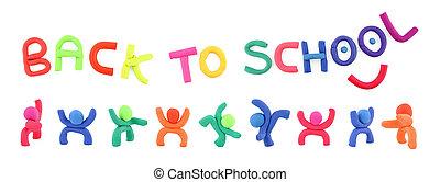 école, lettres, dos, figures, plasticine, orthographe