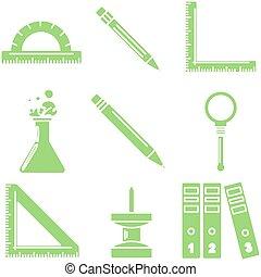école, linéaire, icons., partie, vert, 3., marchandises, noir